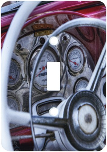 3dRose lsp_173707_1 Red Dash of Old Car with Speedometer Light Switch Cover