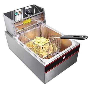 Comercial Acero inoxidable 2500 W eléctrico encimera grasa 6 litros depósito 5L Capacidad de alimentos freidora Interruptor de control de temperatura ...