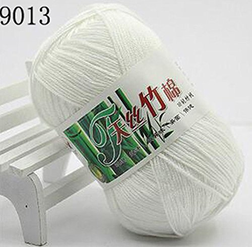 Set of 10 Skein Natural Select Soft Tencel Yarn 70% Bamboo + 30% Egyptian Cotton Crochet 50g Baby Knit Wool Yarn (White (Wool Dk Weight)