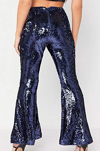 Pantalons Longs Bas Paillettes Cloche Bleu Haute Pantalon Femmes Taille YxRTq0