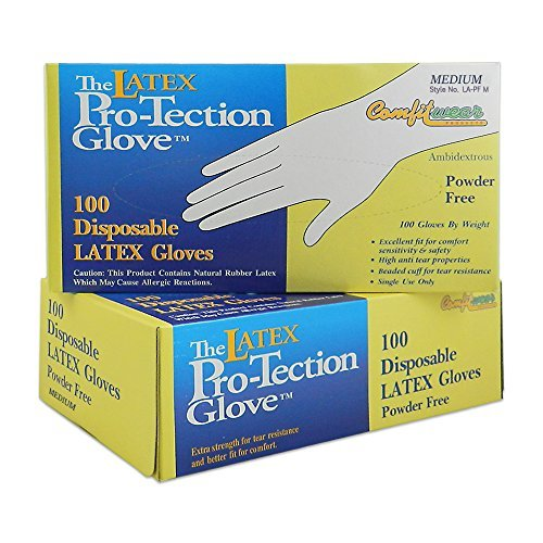 (Pack of 2) Comfitwear - Disposable Latex Gloves - Powder Free - Size Medium - 100 Count Per Box 2 Pack Latex