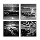 Melody Art - New 4 Panels/sets Modern Abstract Black And White Seascape- Sea Beach Wave Rocks and Ocean Wall Art Picture Prints On Canvas Painting for Wall Decor and Housewarming Gift, Framed,30x30cm