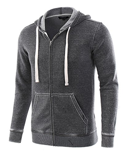 HETHCODE Mens Casual Fashion Zip Up Long Sleeve Pocket Hoodie Sweatshirt Jacket Burnout Gray - Zip Up Mens Hoodie
