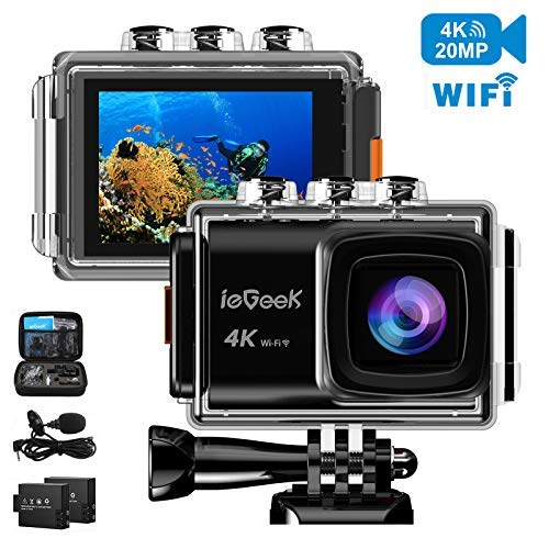 "Action Camera, ieGeek 20MP 4K WiFi Waterproof Sports Cam 98Feet Underwater Camera Video Camera Camcorder Ultra HD 170° Wide-Angle 2"" Screen with EIS/1200mAh Rechargeable Battery/Mounting Accessory Kit ieGeek"