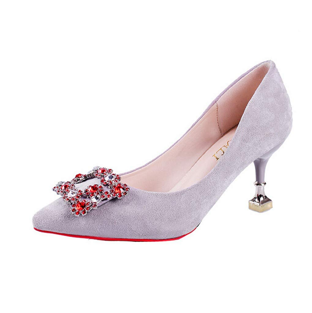 Women's Elegant Suede Casual Sandals Shoes,Ladies Summer Fashion Soft Pointed Rhinestone Flower High Heels Shoes (Gray, US:5.5) by AuroraX Sandals
