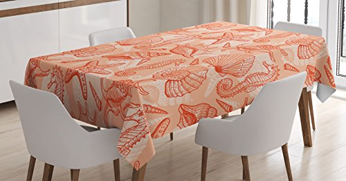 Coral Decor Tablecloth by Ambesonne, Nautical Marine Sea Mix Collection with Seahorse Shells Starfish Ocean Summer Theme, Dining Room Kitchen Rectangular Table Cover, 60W X 90L Inches, (Summer Fashion Accessories Shell)