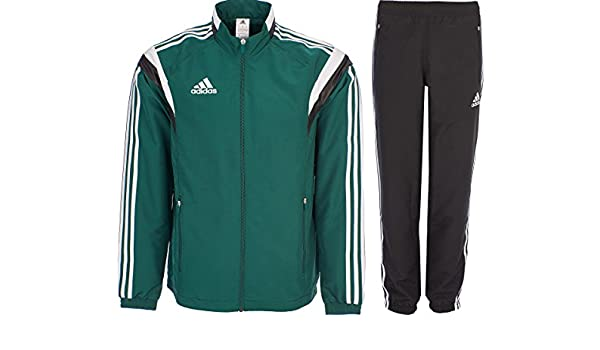 80dc4a9560c5 Amazon.com  adidas Tracksuit Woven Soccer RefSuit Track Top Pants Training  Black Green G90430 (X Small)  Sports   Outdoors