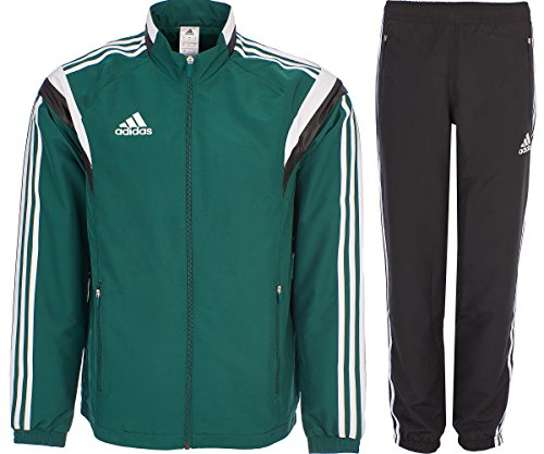 adidas Tracksuit Woven Soccer RefSuit Track Top Pants Training Black/Green G90430 (X Small)