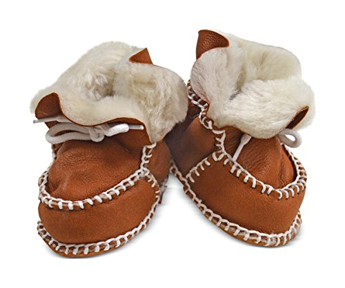 Toscana SHEARLING Supersoft oveja bebé patucos marrón glitter brown suede & white shearling Talla:Size 3-12 months tan suede & cream shearling