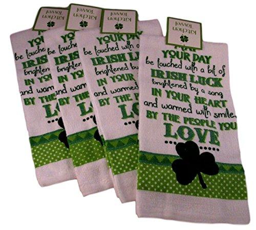 100% Cotton Irish Dish Towels - Set of Four (Irish Luck - 4 Leaf Clover)