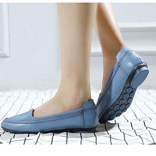Damen Hausschuhe Driving Mokassin Leder Schuhe Casual Slipper Freizeit Halbschuhe Blau