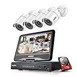 SANNCE 8CH 720P DVR Security Camera System with 1TB Surveillance HDD and 4pcs 1.0 MP 1280TVL Bullet CCTV Cameras, Built-in 10.1 inches Monitor, P2P Technology, QR Code Scan and Remote Access Viewing