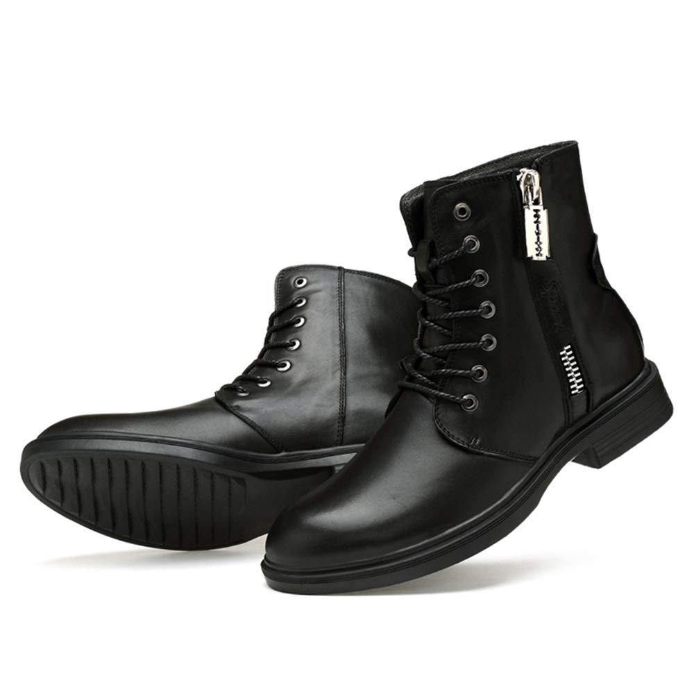 MXNET Persönlichkeit Mode Stiefel, Casual Persönlichkeit MXNET Reißverschluss Winter Fleece Inside High Top Stiefel (konventionell optional) für Männer (Farbe   Schwarz, Größe   38 EU) 0e0afa