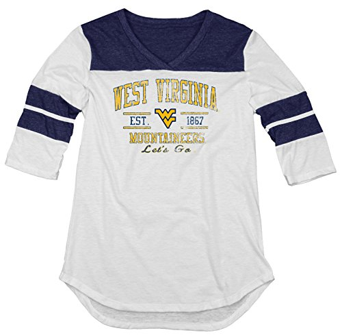 (NCAA West Virginia Mountaineers Women's Tri-Blend 3/4 Sleeve Tee, Navy, X-Large)