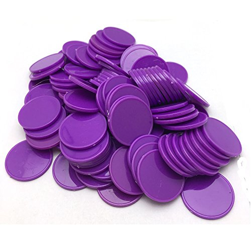 Smartdealspro Set of 100 25MM/1 Inch Opaque Plastic Learning Counting Counters Poker Chips (Purple)