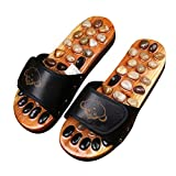 FJY Foot Massage Slippers Shoe Foot Care Reflexology Sandals With Natural Acupuncture Stones Mules Promote Blood Circulation and Improve Metabolism CM004,Professional Edition, black, 39/40 EU