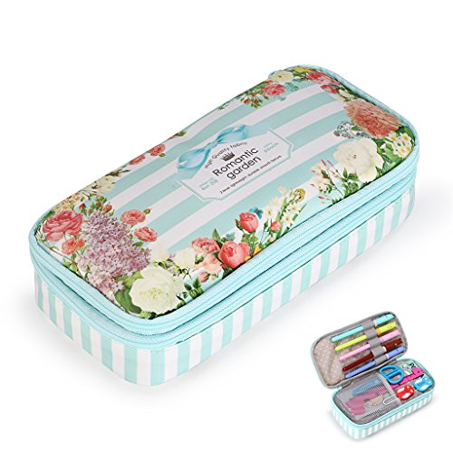 BTSKY Floral Pencil Case with Compartments --High Capacity Double Layers Pencil Pouch Stationery Organizer Multifunction Cosmetic Makeup Bag for Girls, Perfect Holder for Pencils and Pens (Light Blue)