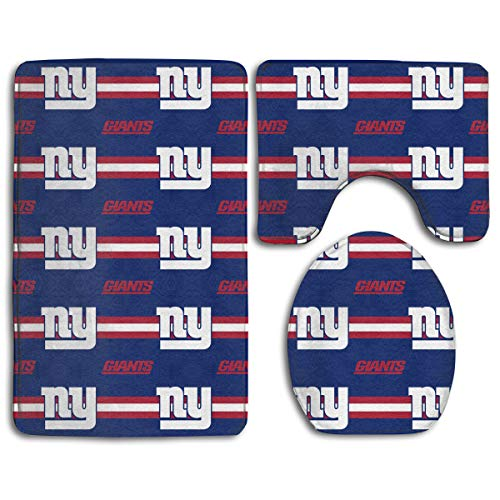 Sorcerer Custom Colorful Doormat American Football Team New York Giants Indoor Bathroom Anti-Skid Mats,3 Piece Non-Slip Bathroom Rugs,Non-Slip Mat Bath + Contour + Toilet Lid