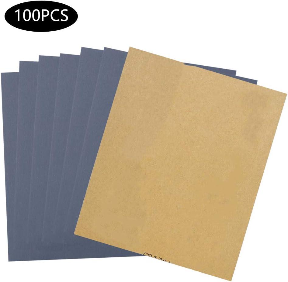 Papel de Lija 100PCS p1000 Hoja de Papel de Lija para Pulido de Metales Manualidades Papel Abrasivo seco y H/úmedo Productos de Madera Papel de Lija Impermeable