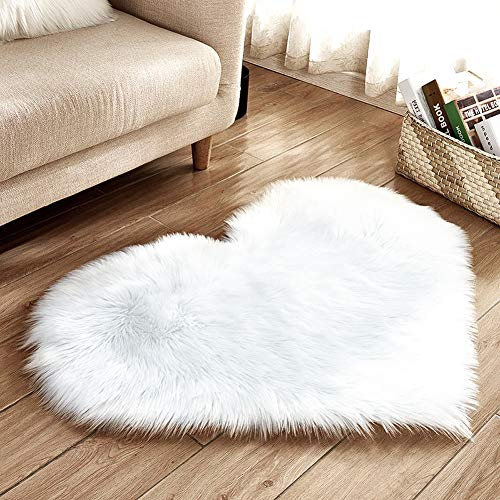 YJ.GWL Love Shape White Fluffy Faux Sheepskin Area Rug for Bedroom Throw Floor Sofa Pad Living Room Bedside Rug 2.3' x 3' by YJ.GWL