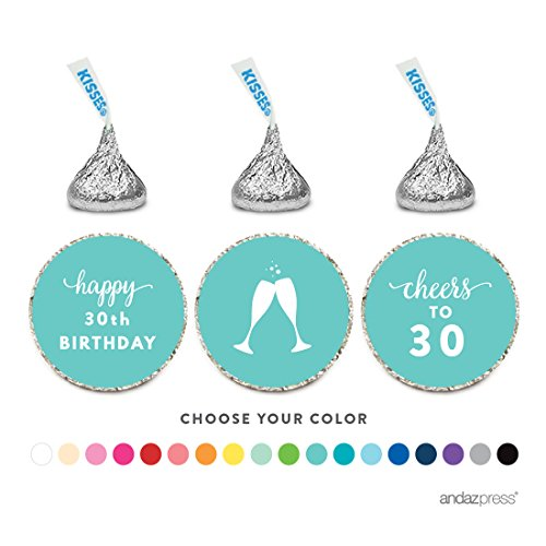 Andaz Press Chocolate Drop Labels Trio, Fits Hershey's Kisses Party Favors, 30th Birthday, 216-Pack, Choose Your Color - Party Decor and Decorations, Stickers for Stationary, Envelopes, Invitations, Thank You Notes