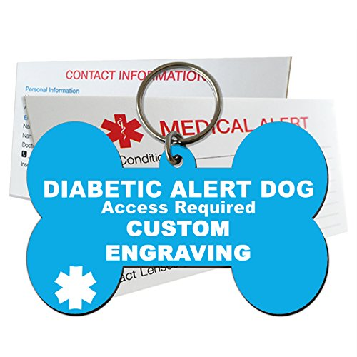 My Identity Doctor Diabetic Alert Dog ID Tag Custom Engraved Dog Bone Plastic Made in USA – Light Blue – Large ()