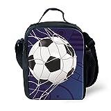 Instantarts Funny Purple Child Shoulder Lunch Bag Soccer Print Zipper Lunchbox