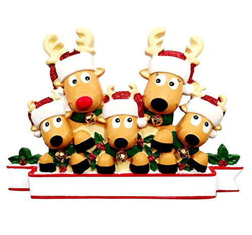 2017 Reindeer Family Hand Personalized Christmas Ornament - Family of 5 (With 3 Children) (Ornament Personalized Family Reindeer)