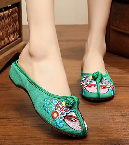 Slippers AvaCostume Womens Green Embroidery Beijing Opera Old Chinese rwxBqr