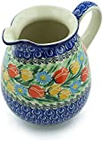 Polish Pottery 3½ cups Pitcher made by Ceramika Artystyczna (Breathtaking Tulips Theme) Signature UNIKAT + Certificate of Authenticity