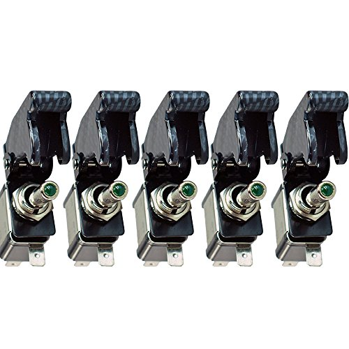 UPC 711041558206, E Support Car Carbon Fiber Cover Green LED Toggle Switch Pack of 5