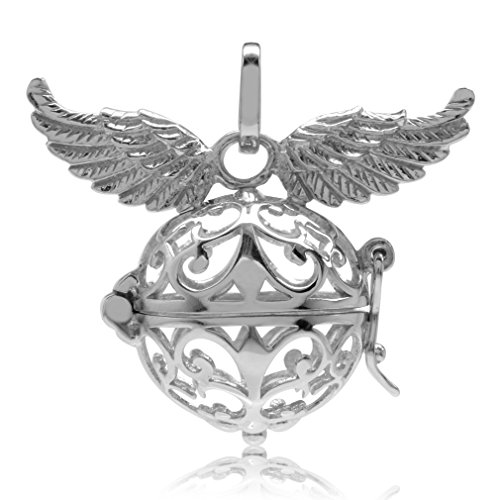 White Gold Plated 925 Sterling Silver Filigree Angel Wings Harmony Ball ()