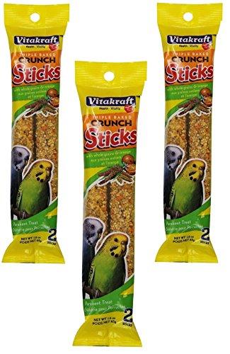 VitaKraft Orange Kracker Sticks Treats for Parakeets - 3 PACK (Pack 3 Parakeet)