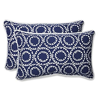 """Pillow Perfect 568287 Outdoor Ring a Bell Rectangular Throw Pillow, Set of 2, 18.5"""" x 5"""" x 11.5"""", Blue - Includes two (2) outdoor pillows, resists weather and fading in sunlight; Suitable for indoor and outdoor use Plush Fill - 100-percent polyester fiber filling Edges of outdoor pillows are trimmed with matching fabric and cord to sit perfectly on your outdoor patio furniture - living-room-soft-furnishings, living-room, decorative-pillows - 51d160Y59JL. SS400  -"""