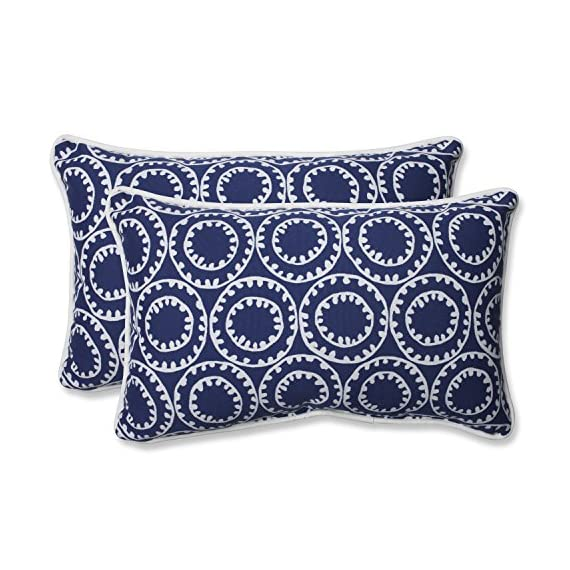 "Pillow Perfect 568287 Outdoor Ring a Bell Rectangular Throw Pillow, Set of 2, 18.5"" x 5"" x 11.5"", Blue - Includes two (2) outdoor pillows, resists weather and fading in sunlight; Suitable for indoor and outdoor use Plush Fill - 100-percent polyester fiber filling Edges of outdoor pillows are trimmed with matching fabric and cord to sit perfectly on your outdoor patio furniture - living-room-soft-furnishings, living-room, decorative-pillows - 51d160Y59JL. SS570  -"