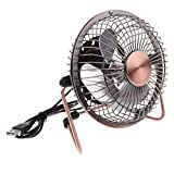 Homyl 4''Bronze USB Powered Mini Portable Desktop Cooling Desk Fan For Computer