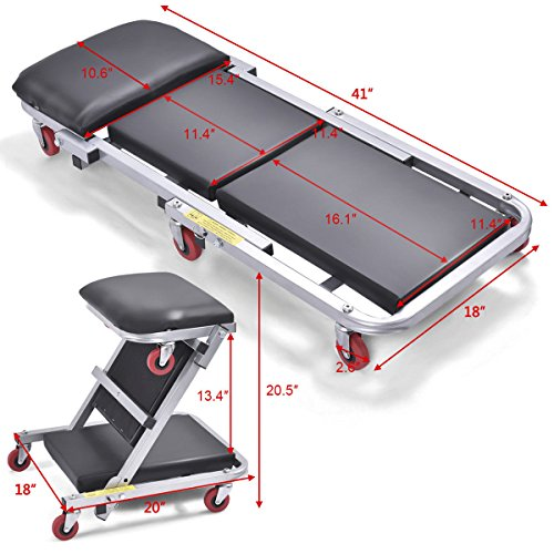 Goplus 40'' Foldable Z Creeper Seat Rolling Chair Mechanics Garage 2 in 1 Work Stool, 450-lb Capacity by Goplus (Image #1)