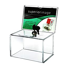 (Pack/2units) Locked Clear Acrylic Charity Donation Boxes With Removable Sign holder For Church,Non-profitable,Charity Groups
