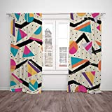 Satin Window Drapes Kitchen Curtains,Indie,Eighties Memphis Fashion Style Geometric Abstract Colorful Design