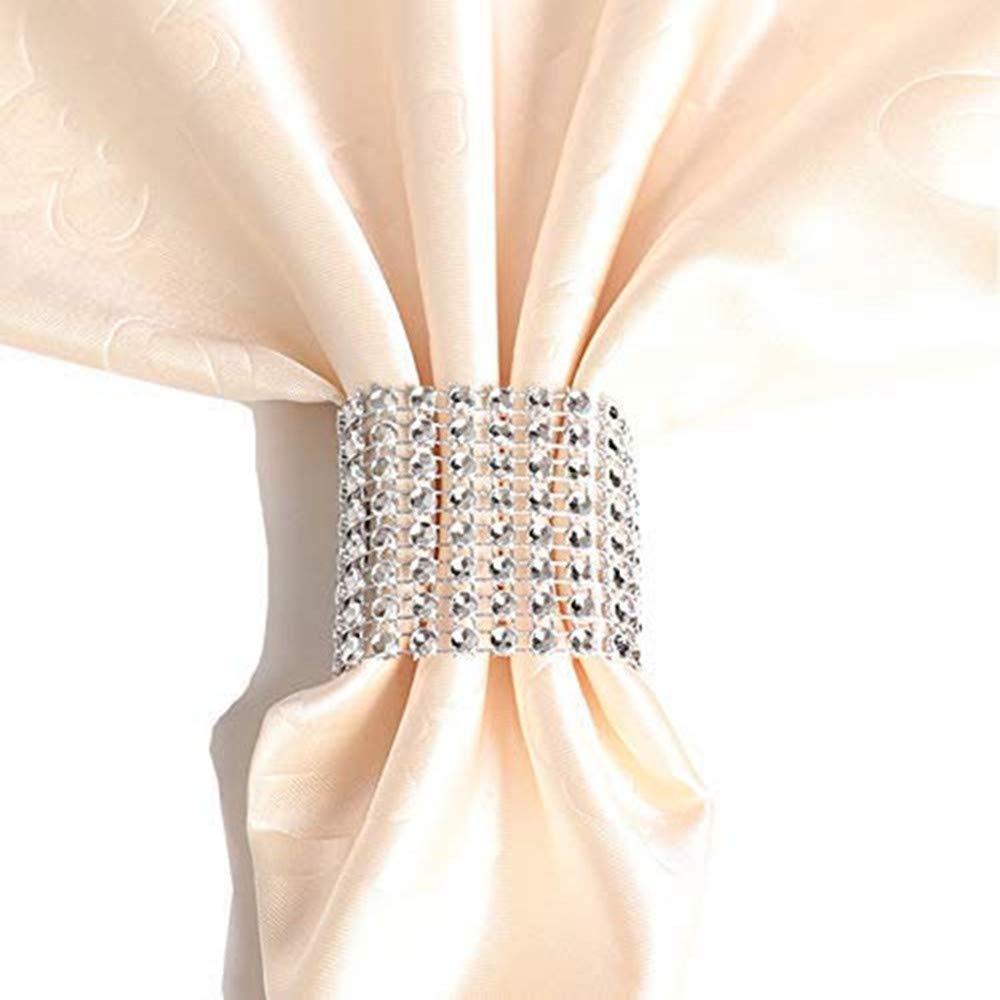 ラインストーンナプキンリング結婚式の装飾、ナプキンホルダーDIYパーティー宴会誕生日、ゴールド(50個) シルバー  シルバー B0794XLTGW