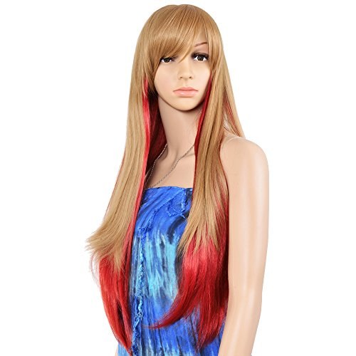 [Krodi Long Straight Cosplay Anime Wis Women' Costume Party Full Wig ,Gold and Red] (Wild Curl Black Wig)
