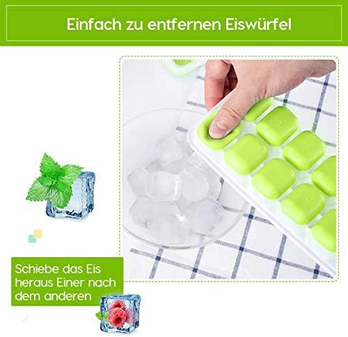 TOPELEK14-Fach Eiswürfelform 4er Pack Silikon Eiswuerfel Mit Deckel Ice Tray Ice Cube, Kühl Aufbewahren, LFGB Zertifiziert, Blau ( 4er pack )