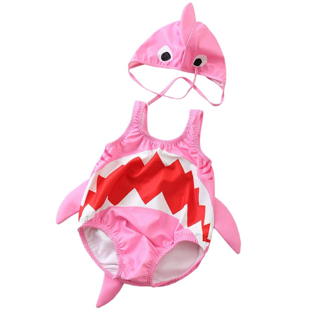 HANANei 2PCS Baby Swimsuit, Toddler Kids Baby Girls Boys Cartoon Shark Swimsuit Bikini Swimwear Bathing Suit (4-5 T, Pink)
