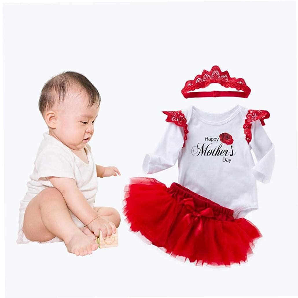 Unicoco Giorno Motivo Pagliaccetto del Bambino 3 Parti Archwire Tutu Vestito di Pizzo Fascia Maniche Lunghe Set della Madre Felice della Tuta della Tuta di Cotone Onesies Newborn Infants