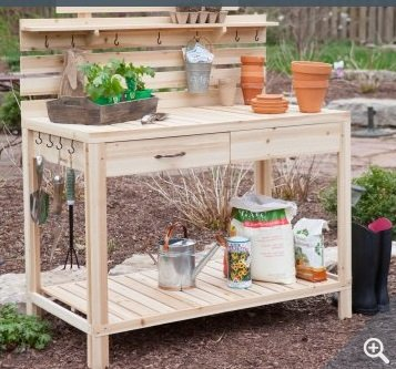 Amazoncom Gardening Potting Table Made of Cedar Wood Bench with