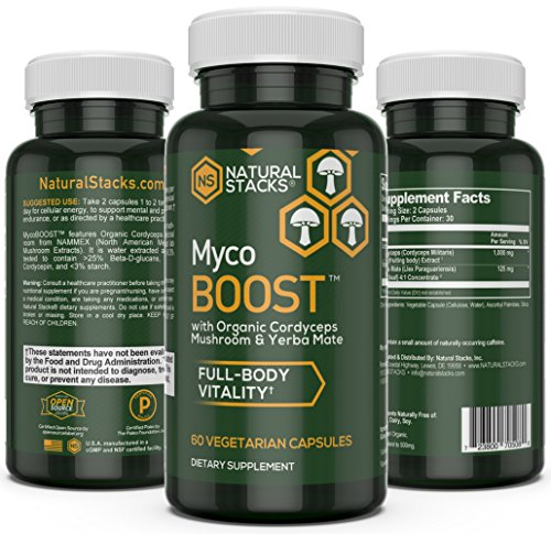 Energy Cellular (Energy Boost - Natural Stacks MycoBOOST - 60 Vegetarian Capsules - Increases Stamina - Organic Cordyceps Mushrooms - Yerba Mate - Cellular Energy Production - Increase Physical and Mental Performance)