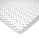 American Baby Printed 100% Natural Cotton Jersey Knit Fitted Pack N Play Playard Sheet, Grey Zigzag, Soft Breathable, for Boys and Girls