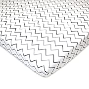 American Baby Company Printed 100% Cotton Jersey Knit Fitted Pack N Play Playard Sheet, Grey Zigzag
