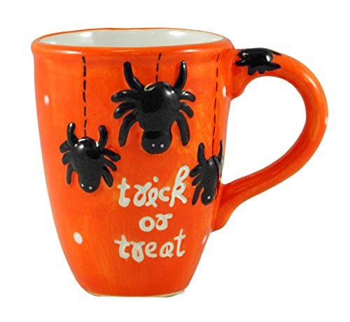 Trick or Treat Spider Orange 14oz Halloween Coffee Mug (Scary Halloween Coffee Mugs)