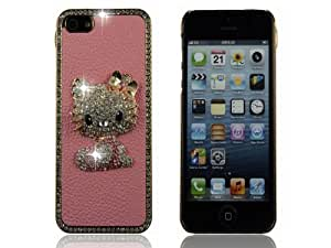 Pink Handmade Crystal Hello Kitty Dimond PU Leather Case Cover For iPhone 5 5G